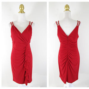 Cache Red VNeck Ruched Cocktail Sheath Dress 10 12